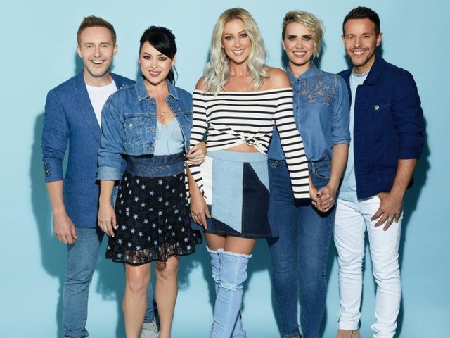 Steps performed without Lee Latchford-Evans (far right).
