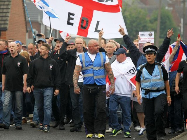 The EDL march in Hexthorpe in 2014.