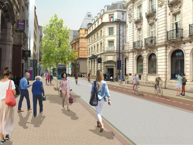 An artist impression of what changes on Park Row might look like.