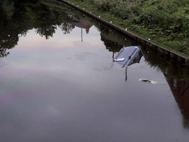 A passing driver spotted the sunken canal boat. Photo provided by Ben Cairns, of North Yorkshire Fire & Rescue Service.