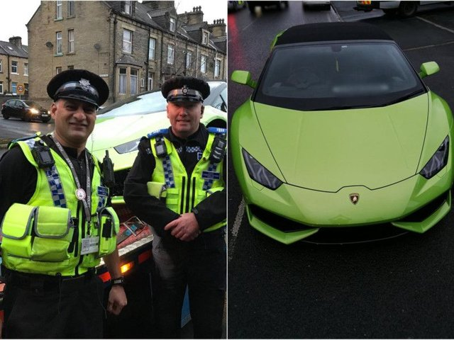 The lime green Lamborghini recovered by police. Photo: West Yorkshire Police