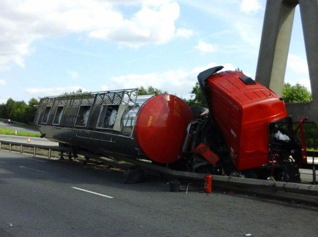 The tanker smash. Photo: West Yorkshire Police