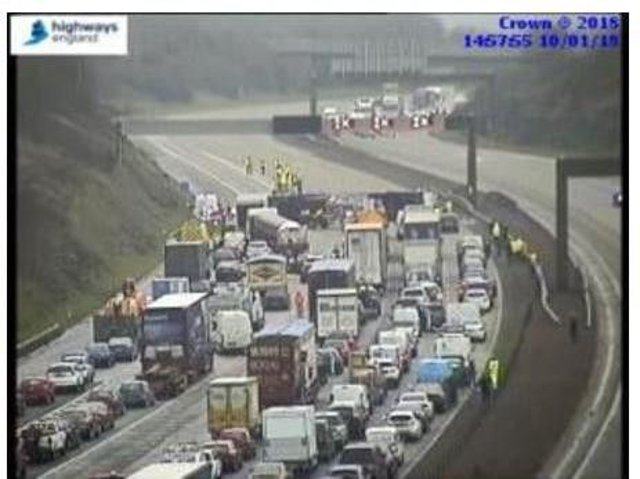 The scene of the lorry flip on the M1