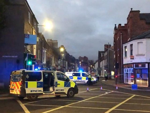 Gillygate in York has been closed by police. Pic credit: Barrie John Stephenson