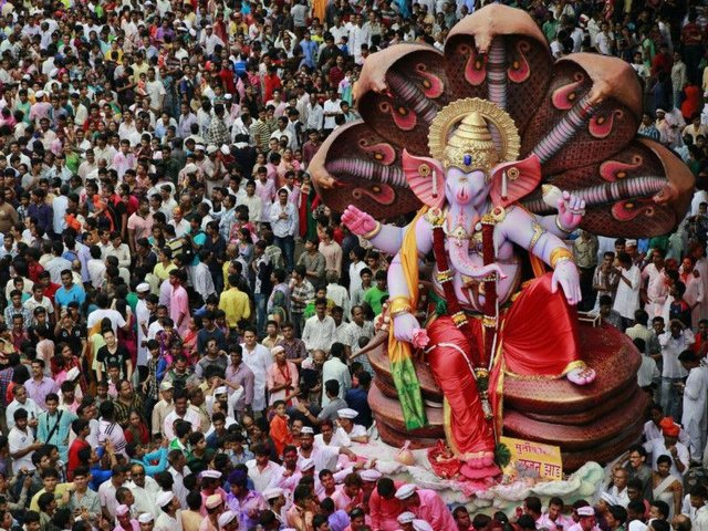 Every year millions of devout Hindus immerse Ganesh idols into oceans and rivers in a 10-day festival in Mumbai, India