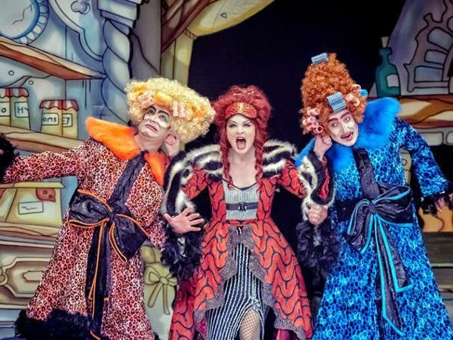 Chris Chilton as Gretchen Grimallova, Brandi-Himmelreich as Countess Grimallova, and Chris Hannon as Griselda Grimallova in Theatre Royal Wakefield's Cinderella. Picture: Robling Photography.