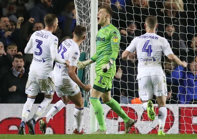 Saved: Leeds United goalkeeper Bailey Peacock-Farrell celebrates after saving the late penalty.