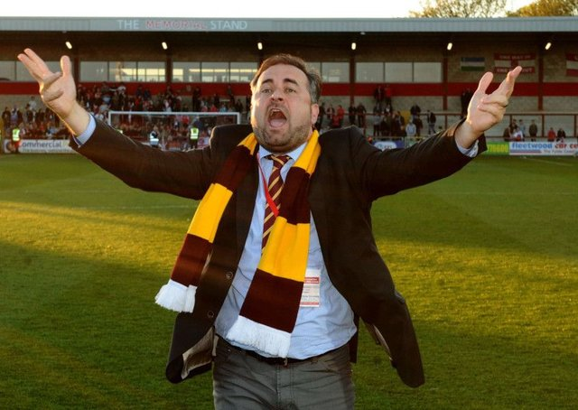 Bradford City co-chairman Edin Rahic celebrates the League One play-off semi-final win at Fleetwood Town. Picture: Jonathan Gawthorpe