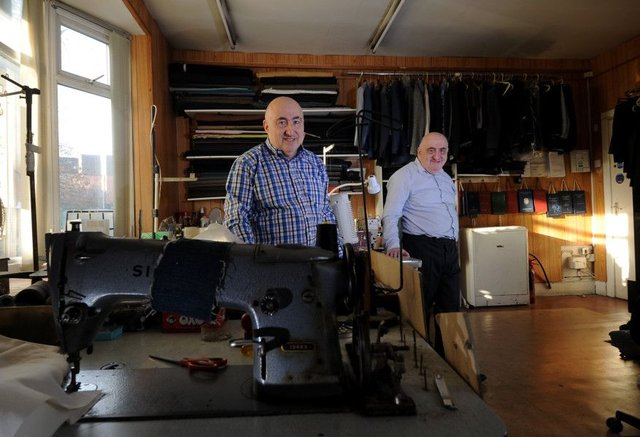 Feature on Brightbart Bespoke Tailors, New Briggate,Leeds.Mervyn Brightbart (left) with his brother Clive....11th December 2018..Picture by Simon Hulme