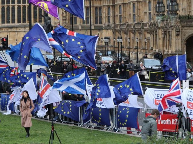 The scene outside the Palace of Westminster ahead of tonight's Brexit vote. Pic: PA