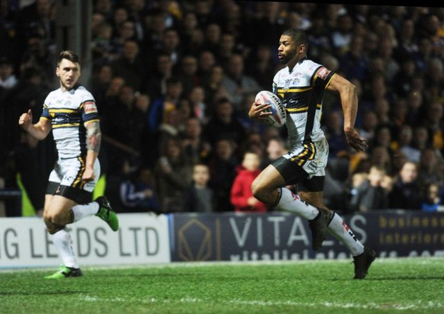 Kallum Watkins scores a try for Leeds Rhinos against Wigan Warriors last month.