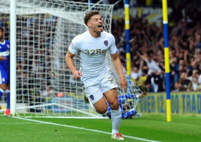 Kalvin Phillips celebrates scoring Leeds' second goal of the game Picture by Simon Hulme