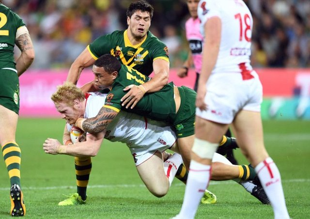 England's James Graham on the attack against Australia.