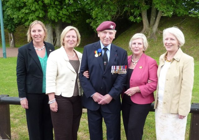 Major Jack Watson with his four daughters, including Sally (first left).