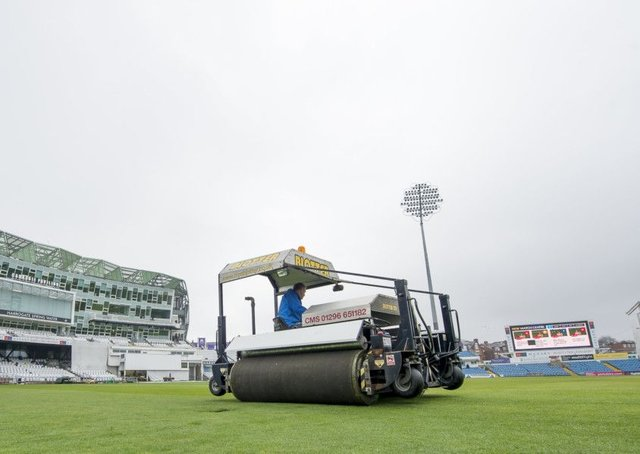 RAIN STOPPED MATCH: Andy Foggarty on the 'Blotter' taking up water from the Headingley outfield prior to the first match of the County Championship. Picture: Allan McKenzie/SWpix.com