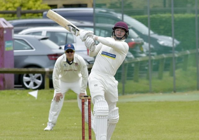 PULLING CLEAR: Jordan Laban (67) hits through mid-wicket  for Methley, although opponents Cleckheaton prevailed. Picture: Steve Riding