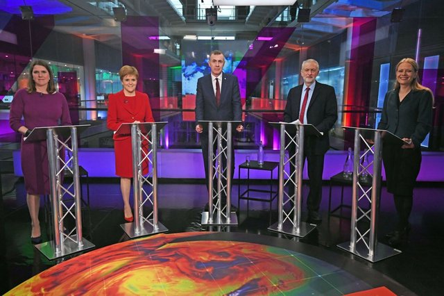 (Left to right) Liberal Democrat leader Jo Swinson, SNP leader Nicola Sturgeon, Plaid Cymru leader Adam Price, Labour Party leader Jeremy Corbyn and Green Party Co-Leader Sian Berry, before the start of the Channel 4 News' General Election climate debate (Photo: Kirsty O'Connor - WPA Pool/Getty Images)
