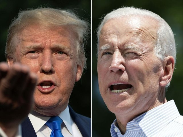 Donald Trump takes on former vice-president Joe Biden in the race the become US President (Getty Images)