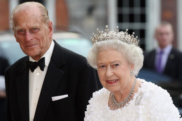 Queen Elizabeth II and Prince Philip, Duke of Edinburgh, arrive to attend a State Banquet in Dublin Castle on May 18, 2011 (Getty Images)