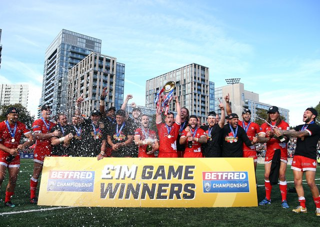 Toronto celebrate their promotion to Super League in 2019. PIC: Vaughn Ridley/SWpix.com
