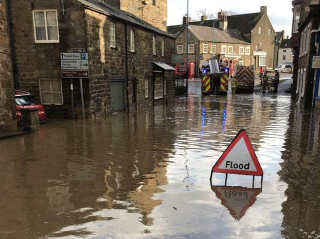 Flooding in Masham. Picture credit: PC Pete Macmillan.