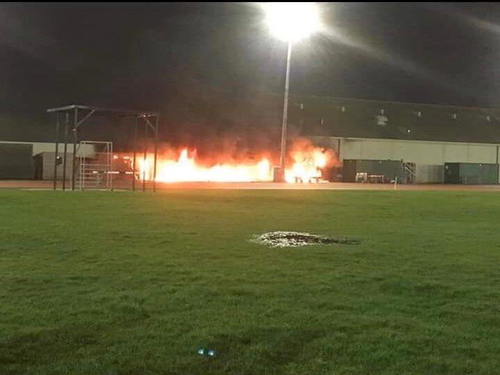 large fire breaks out at the thornes park stadium in