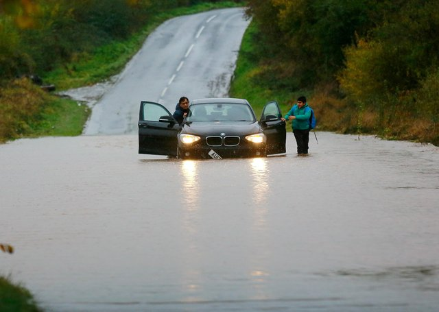 Motorists became stranded in Whiston when the River Don flooded.