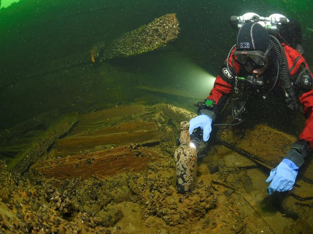Divers discovered ginger beer bottles from Hull on the wreck Picture: Magnus Melin-BUE