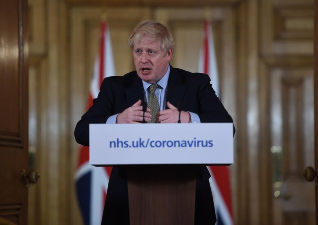 Prime Minister Boris Johnson at a daily press conference.