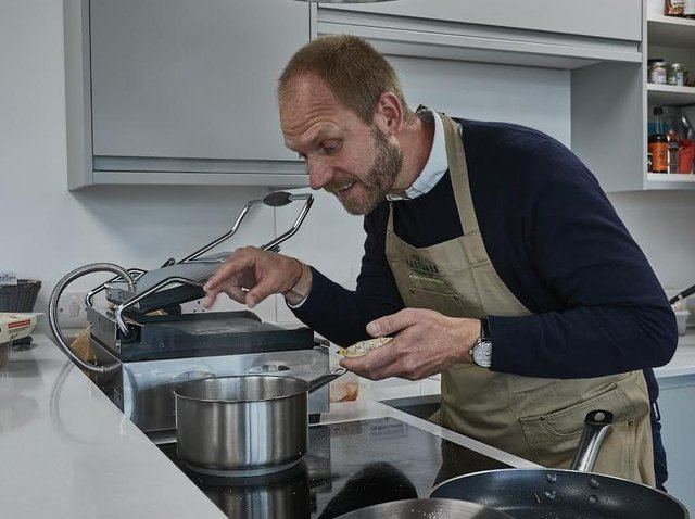 Morten Toft Bech, founder of Meatless Farm, gets busy in the kitchen