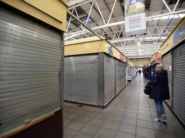 The Oastler Centre market in Bradford, where all non-food stalls were forced to close from today due to coronavirus. Photo: Asadour Guzelian
