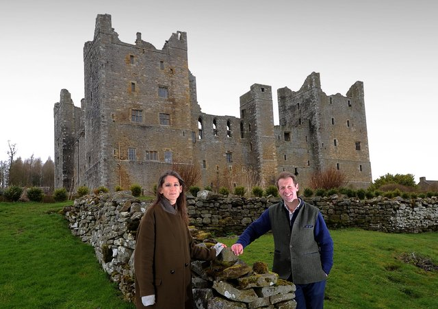 Tom Orde-Powlett pictured with his wife Katie at Castle Bolton, near Leyburn..Picture by Simon Hulme