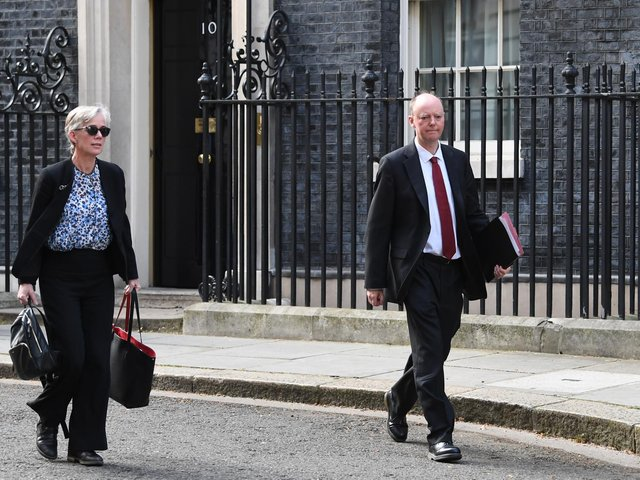 Deputy Chief Scientific Adviser Professor Dame Angela MacLean and Chief Medical Officer Professor Chris Whitty, in Downing Street, London, after giving the daily media briefing on coronavirus (COVID-19). Photo: PA