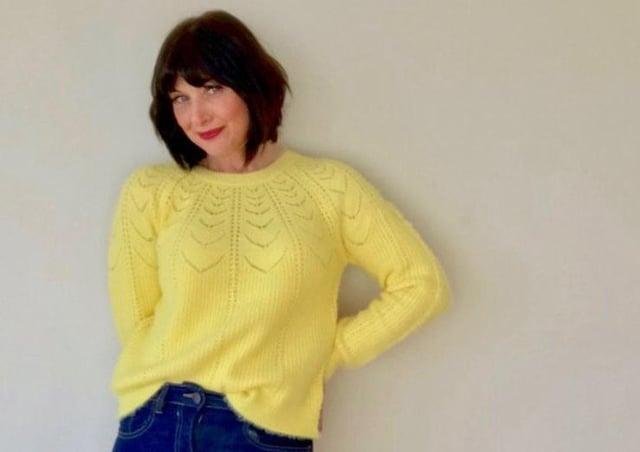 Hannah Roberts models Mila yellow jumper, £29, from Watson and White at WatsonandWhite.com.