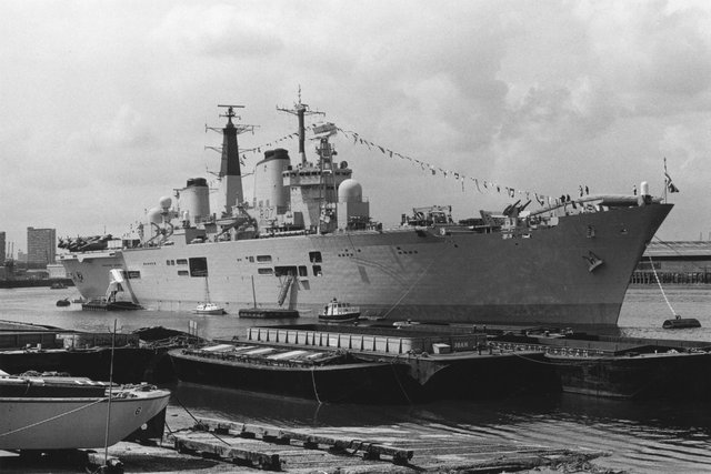 5th June 1987:  British aircraft carrier HMS Ark Royal moored at Greenwich, London.  (Photo by Keystone/Getty Images)