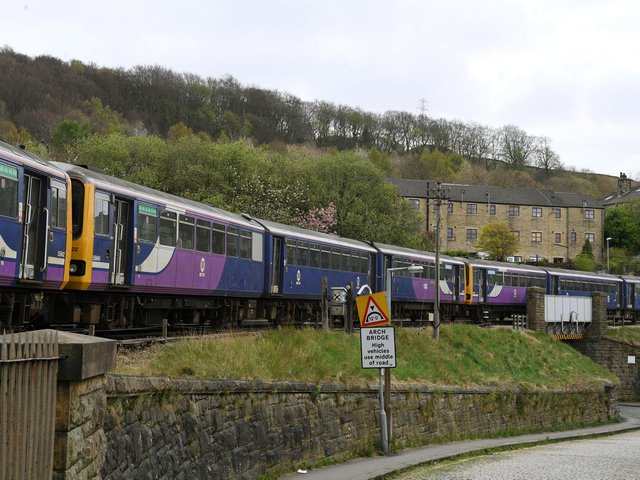 The Pacers are lined up end-to-end at the Keighley and Worth Valley Railway's platforms at Keighley Station