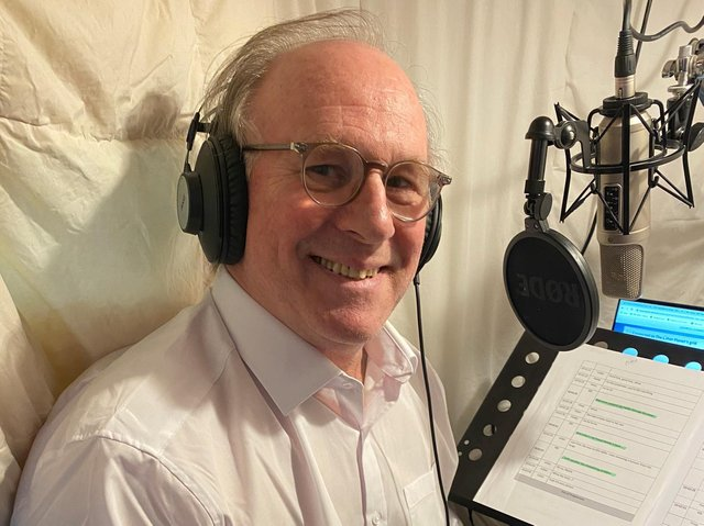 Peter Davison records narration for the Yorkshire Vet. Picture: Channel 5.