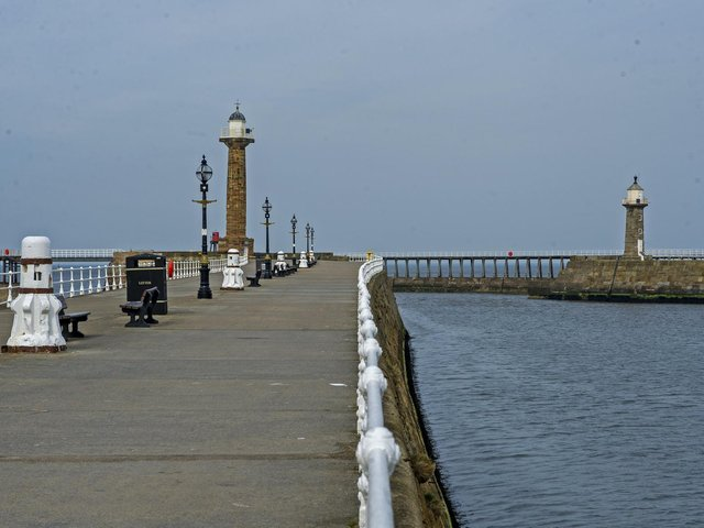 A deserted Whitby Harbour during lockdown