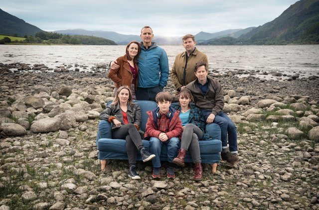 Pictured: (L-R front, then back row) Morven Christie as Alison Hughes, Max Vento as Joe Hughes, Molly Wright as Rebeca Hughes, Lee Ingleby as Paul Hughes, Pooky Quesnel as Louise Wilson, Christopher Eccleston as Maurice Scott, Greg McHugh as Edwin (Eddie) Scott. Picture: PA Photo/BBC/ Fifty Fathoms/Ben Blackall.