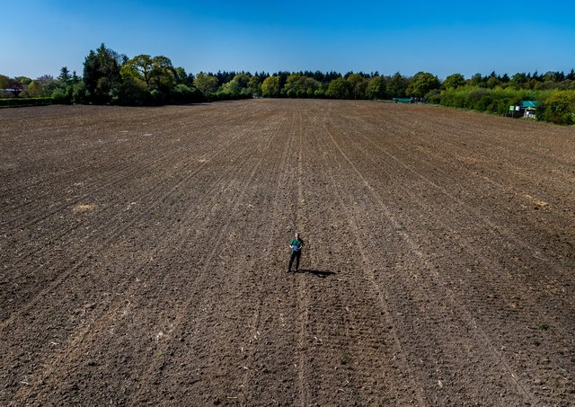 Owner of York Maze Tom Pearcy, in his Maze field planning the design for next year 2021.