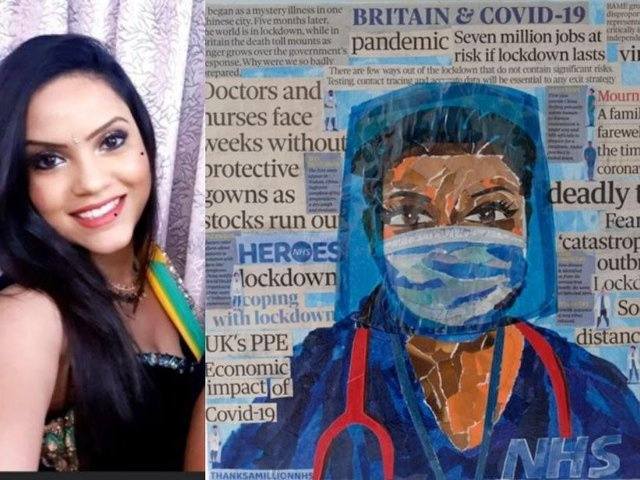 Doctor Anneka Biswas-Abrol and the artwork depicting her in PPE
