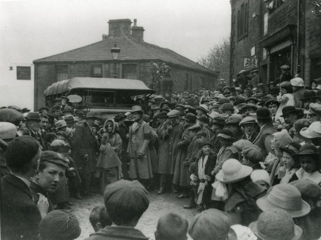 Crowds greet the cast and crew of the first Wuthering Heights film a hundred years ago. Picture supplied by the Bronte Parsonage.