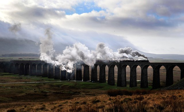 The Winter Cumbrian Mountain Express steams over the Ribblehead Viaduct on the Settle Carlisle line. Picture Bruce Rollinson