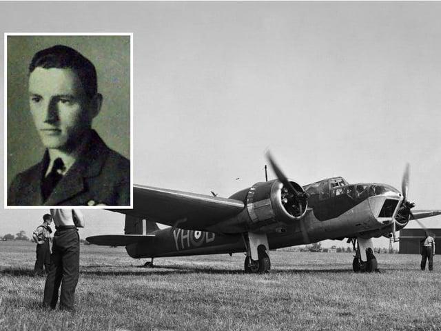 Bruce Smeaton, inset, and a Bristol Blenheim plane.