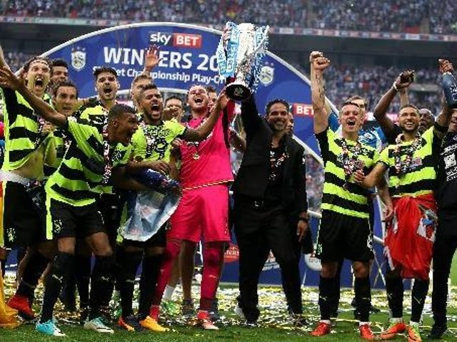 TRIUMPH: Huddersfield Town won promotion to the Premier League in May 2017