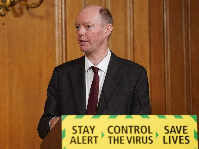 Chief Medical Officer Professor Chris Whitty, during a media briefing in Downing Street, London, on coronavirus (COVID-19). Photo: PA