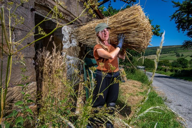 Master Craftsman William Tegetmeier and his apprentice daughter, Phoebe, are re-thatching Oak House, Low Mill, Farndale, North Yorkshire. Picture: James Hardisty
