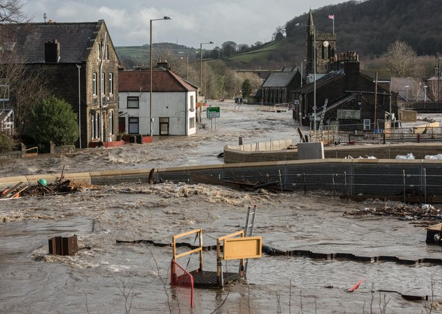 The scene of devastation in Mytholmroyd when Storm Ciara struck in February.