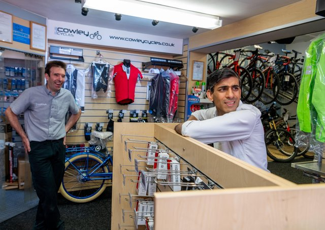 Chancellor Rishi Sunak during a recent visit to Cowley Cycles in Northallerton, part of his Richmond constitutency. Photo: James Hardisty.