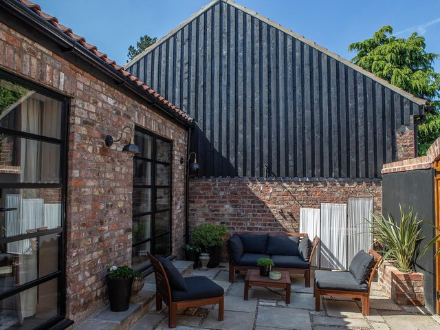 The private courtyard at Next Door at the Old Forge